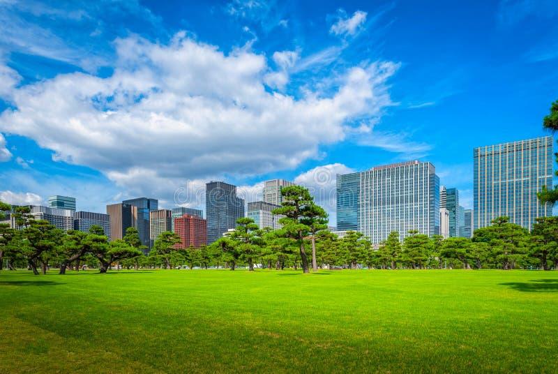 Modern building with green Zen garden on blue sky background in stock photo
