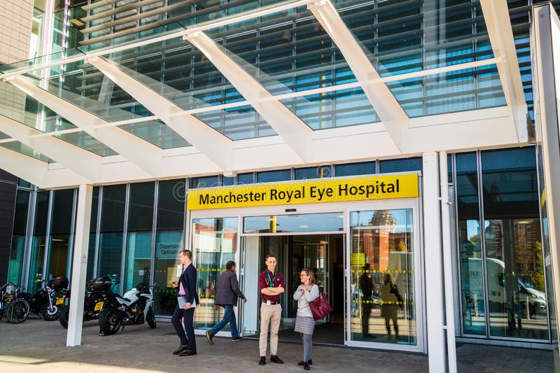 Modern building of an historic over 200 year old Manchester Royal Eye Hospital. MANCHESTER, UK - October 9, 2018: Manchester Royal Eye Hospital is part of a stock images