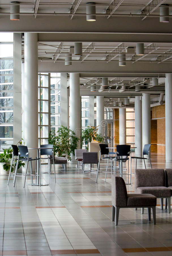 Modern building interior on college campus stock photo