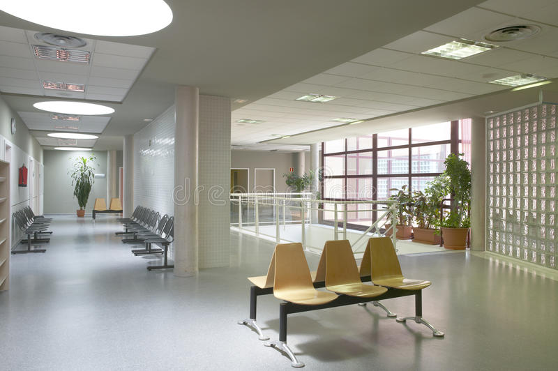 Modern building interior. Waiting area with chairs. Horizontal stock photo