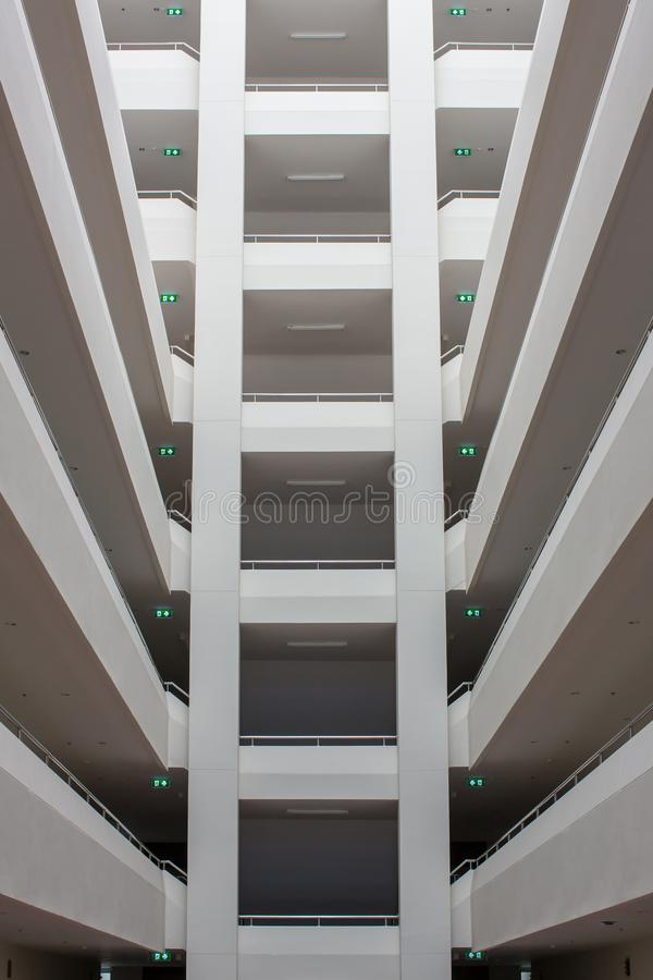 Modern building layers of floor structure. Abstract Tunnel corridor stack building with symmetry layer . royalty free stock photography