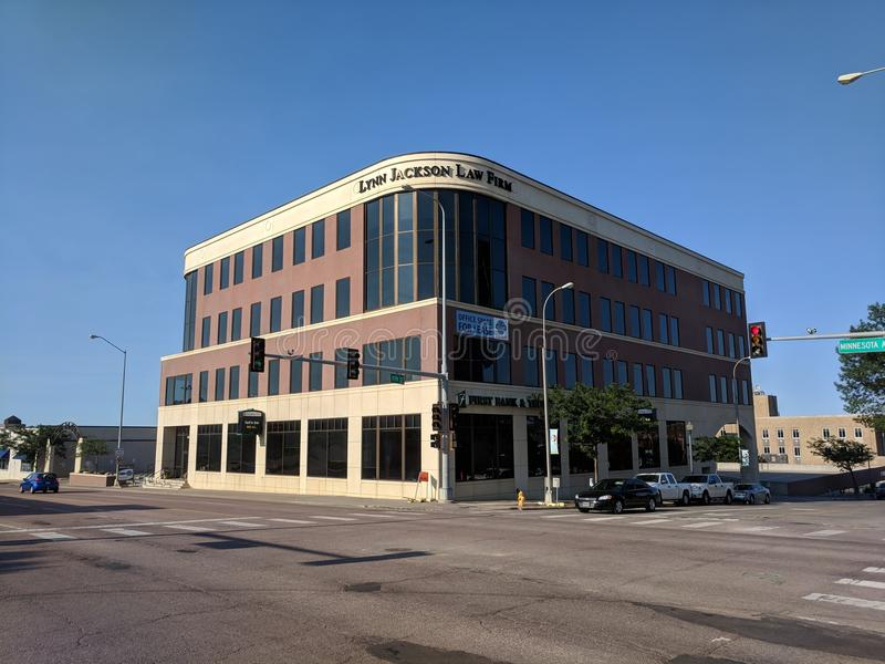 Lynn Jackson Law Firm and First Bank & Trust. Modern building on Minnesota Ave in downtown Sioux Falls, South Dakota stock image