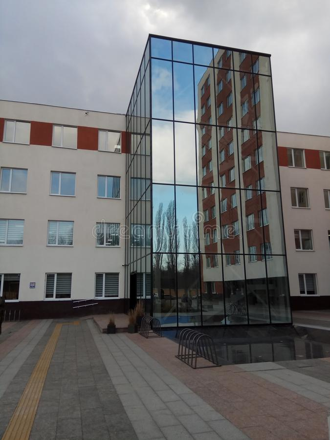 Modern building. Modern hitech and creative building in Odessa stock image