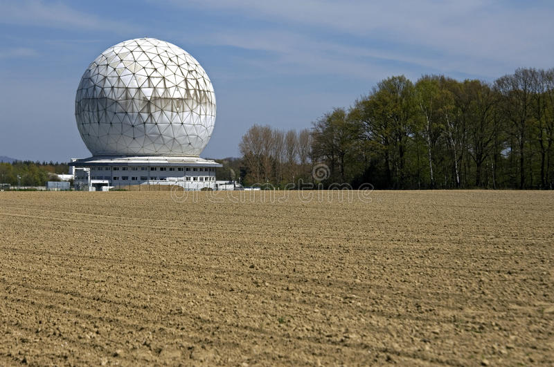 Modern Building, Radar dome Radom, Germany. The construction, in the form of a football, serves as a protective cover of a radar station and is the largest in royalty free stock photography