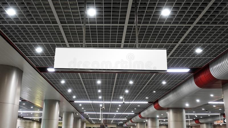 Modern building roof and Blank sign board. In modern construction, subway station, airport, railway station, bus station ,shopping mall,office,shopping mall royalty free stock image