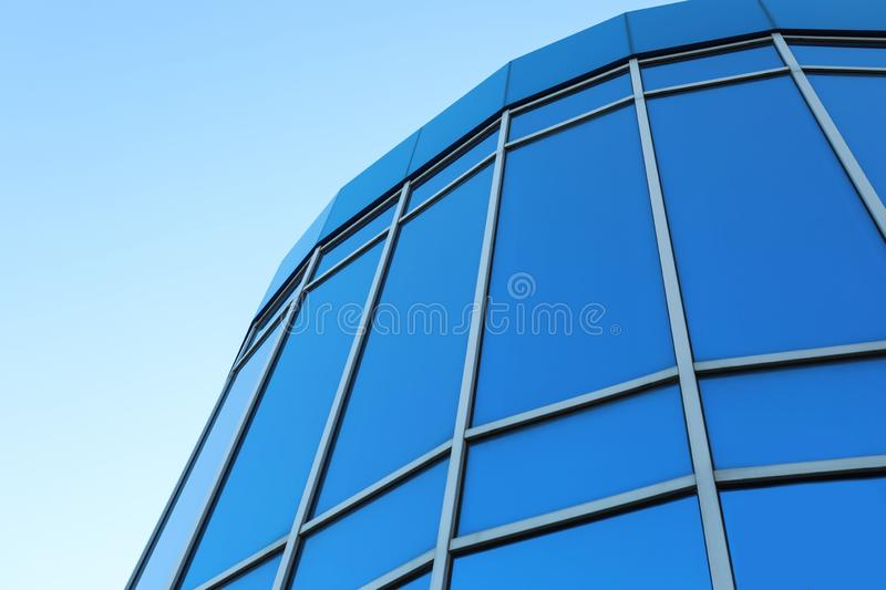 Modern building with tinted windows. low angle view. Modern building with tinted windows outdoors. low angle view stock photos
