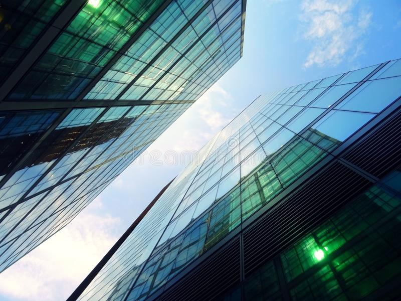Modern buildings against blue skies royalty free stock photos