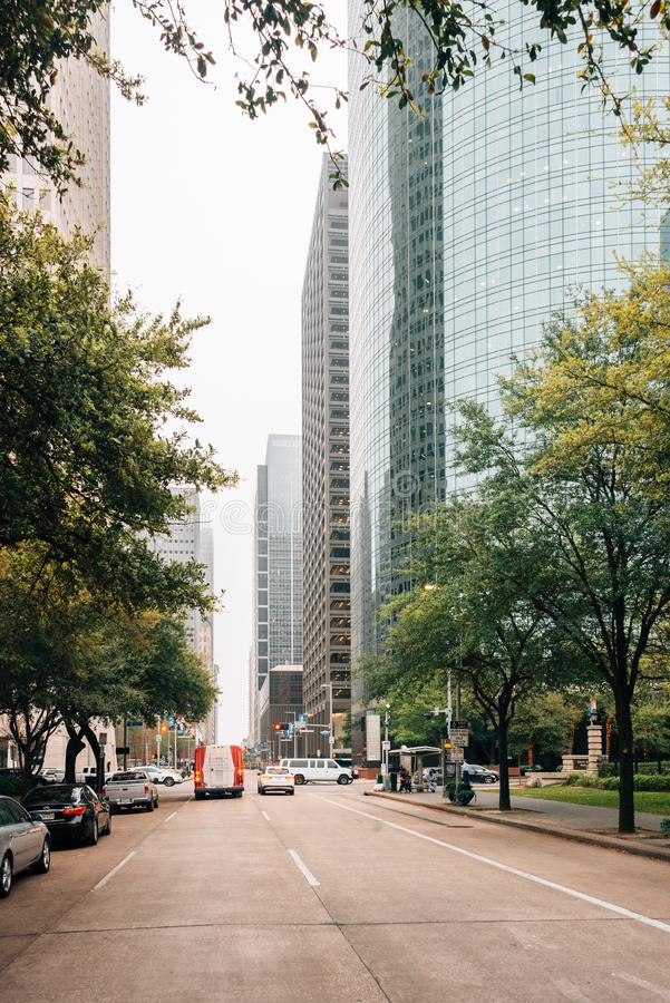 Modern buildings along McKinney Street in downtown Houston, Texas.  royalty free stock photography