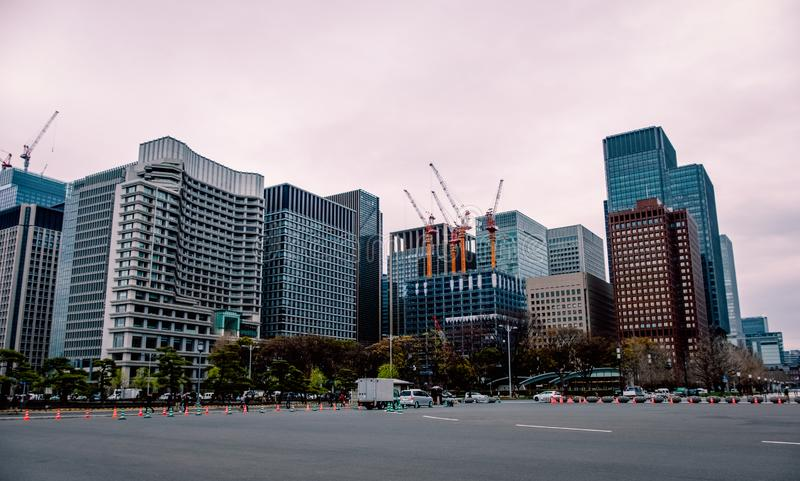 Modern buildings and Cityscape in Tokyo , Japan. Modern buildings around Imperial palace in the morning , Tokyo , Japan stock image