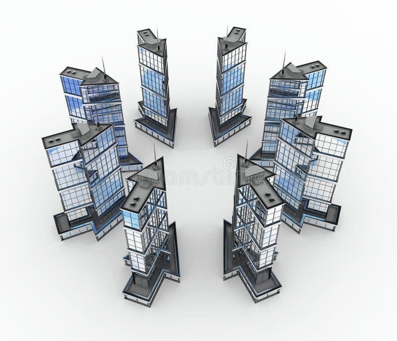 Download Modern Buildings, Arrow Center Stock Image - Image: 10113321