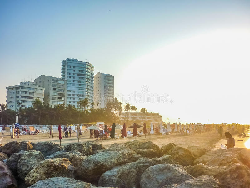 Modern Buildings and Beach in Cartagena royalty free stock photo
