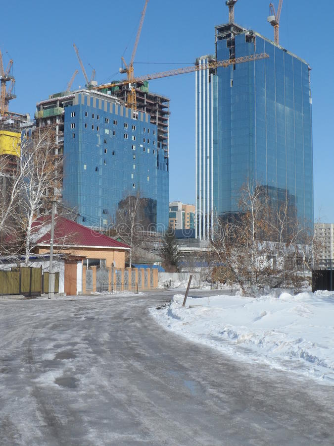 Modern buildings - city center. Astana, view on the city center with different office and residential buildings royalty free stock photo