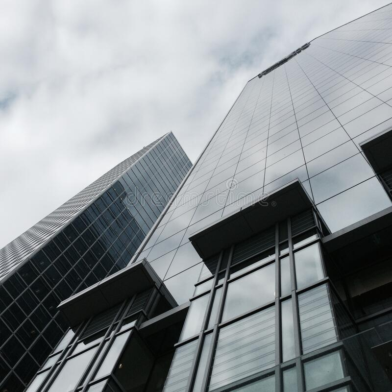 Modern buildings constructed in glass and steel stock photography
