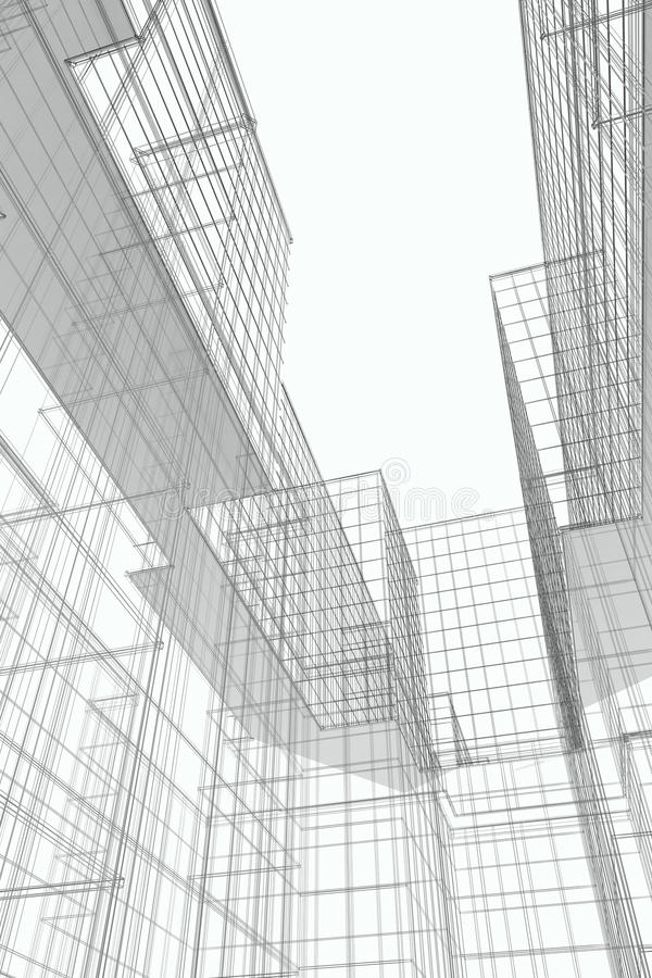 Modern Buildings Courtyard, Wireframe stock image