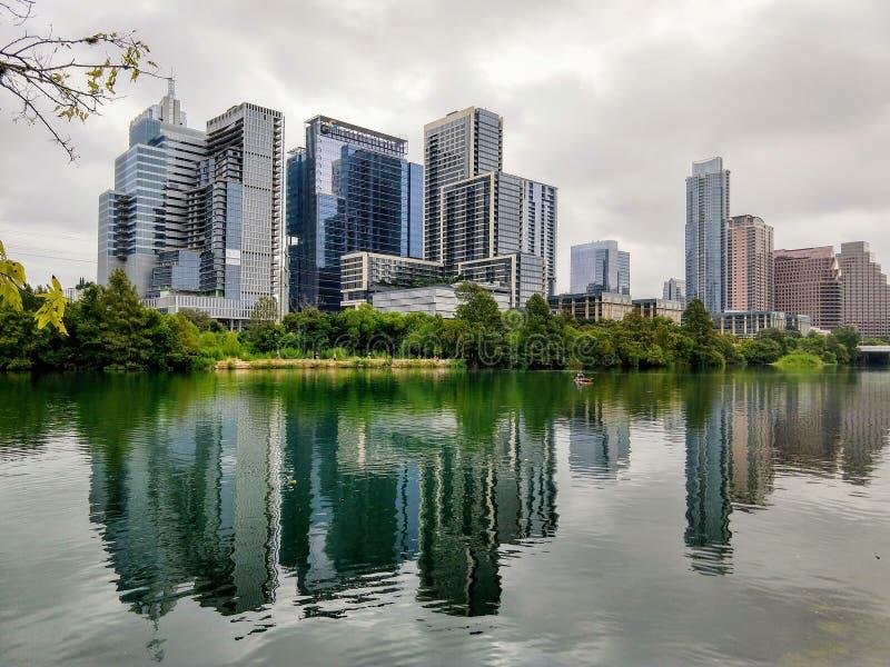 Downtown Austin Texas. Modern buildings in downtown Austin Texas on a cloudy day stock photos