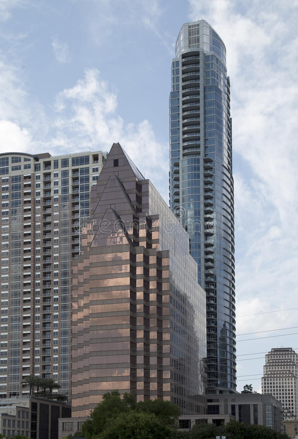 Modern buildings in downtown Austin. TX USA stock images