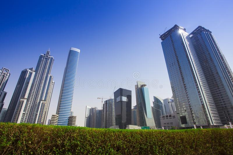 Modern buildings in Dubai city stock photography