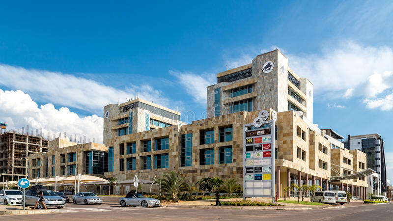 Modern buildings of Gaborone. Gaborone - Nov 12: One of the many modern buildings of Gaborone, one of the fastest growing cities in the world built over a span royalty free stock photos