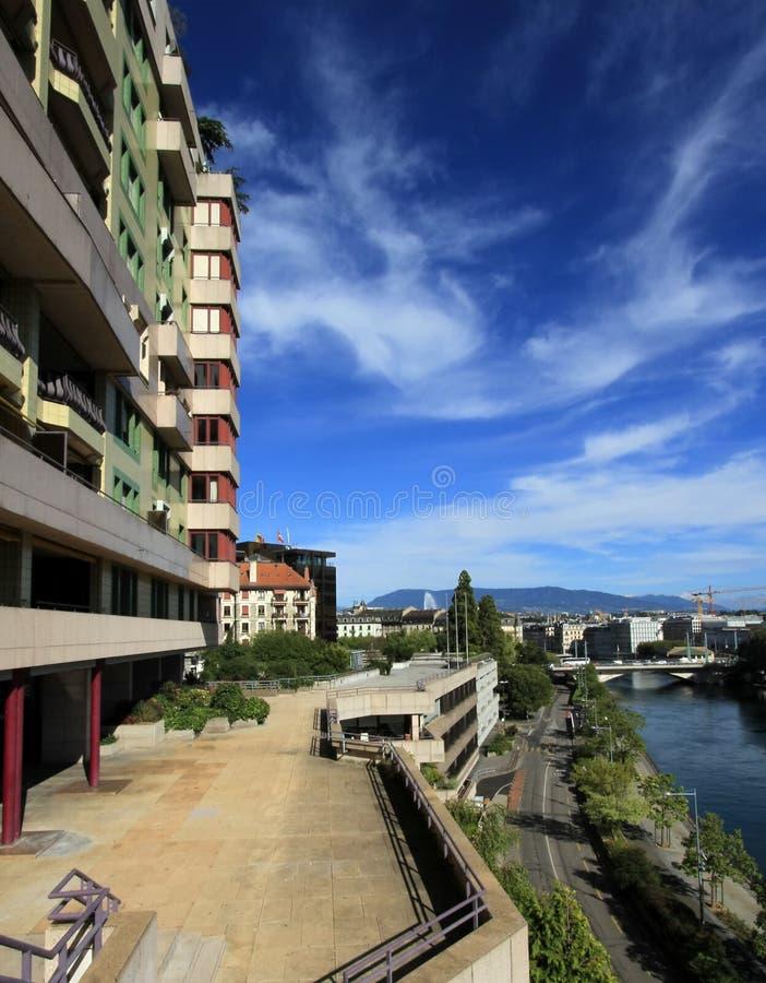 Modern buildings, Geneva, Switzerland royalty free stock image