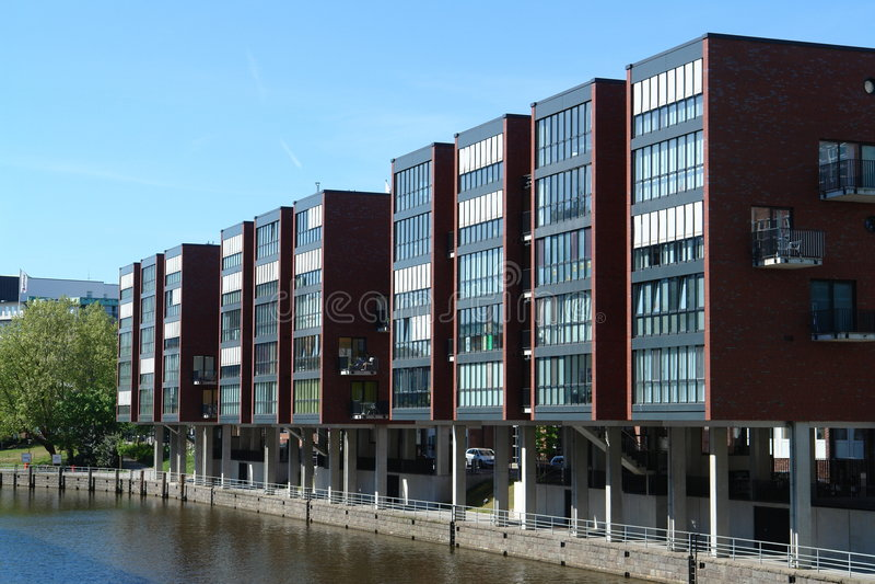 Modern buildings in Hamburg stock photography