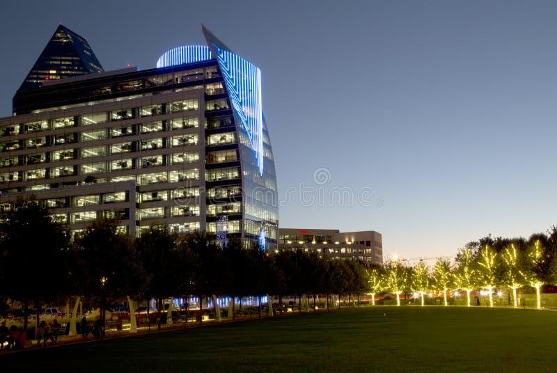 Modern buildings and Klyde Warren Park night scenes stock photography