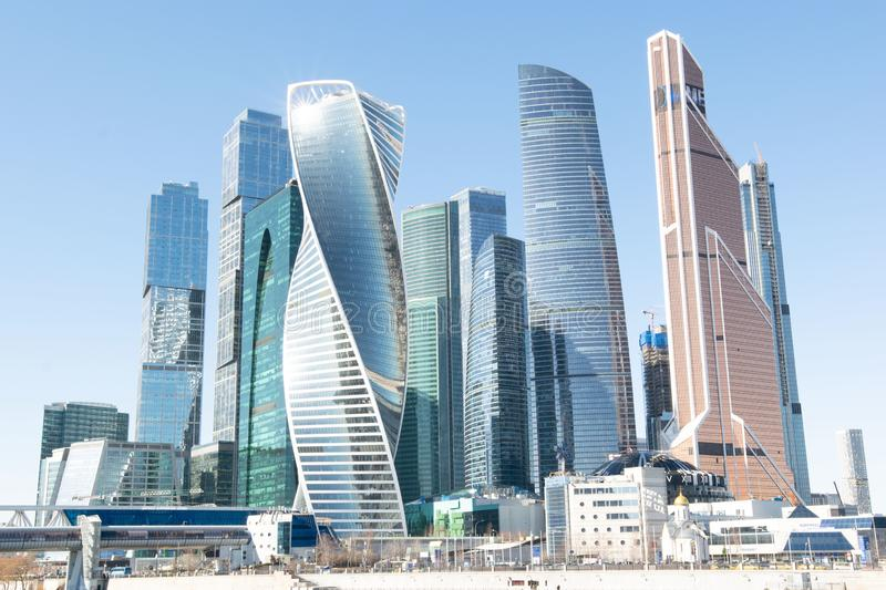 Modern buildings of Moscow City. View from canal embankment royalty free stock photography