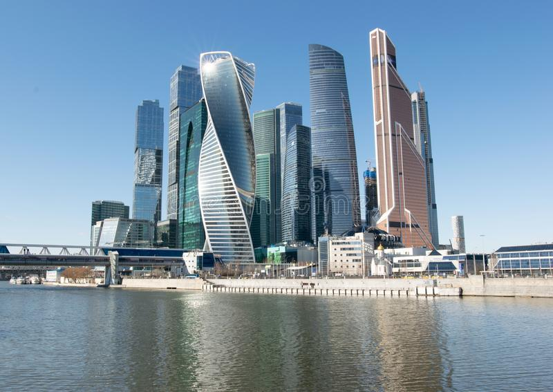Modern buildings of Moscow City. View from canal embankment royalty free stock photo