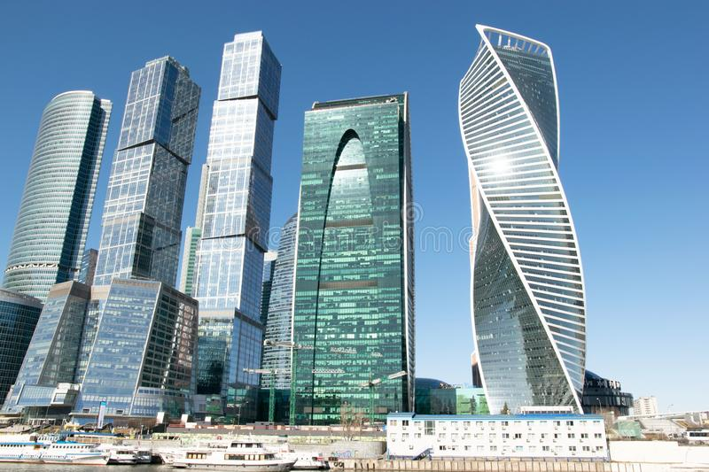 Modern buildings of Moscow City. View from canal embankment stock images
