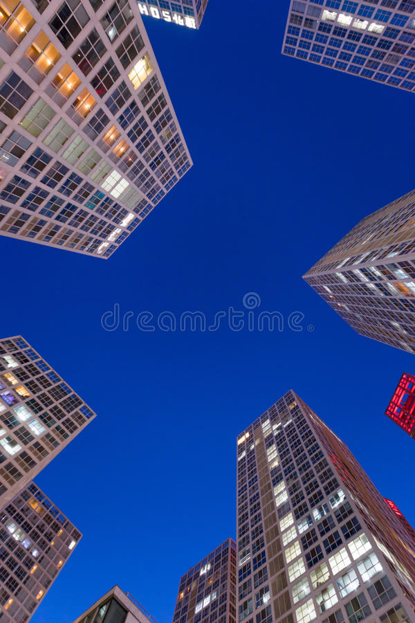 Modern buildings at night. Modern buildings in beijing CBD,china royalty free stock image