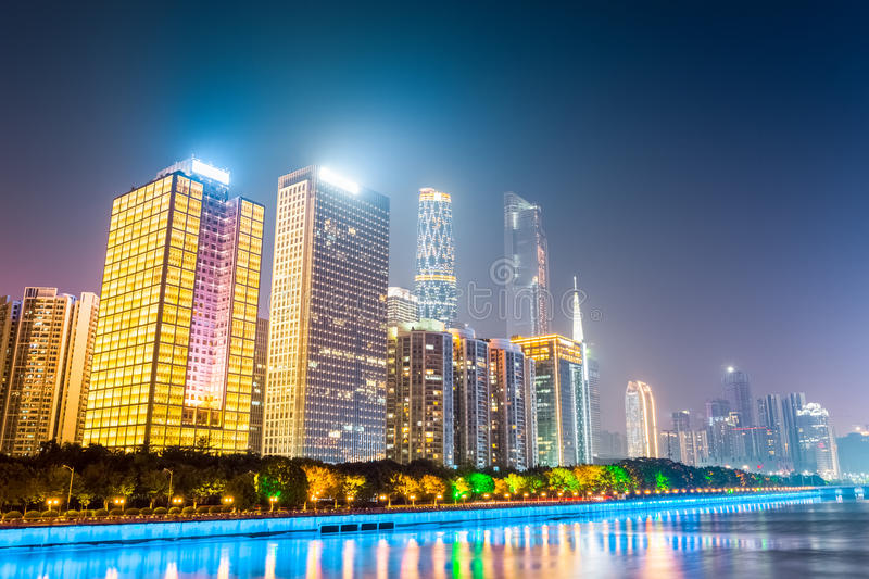 Modern buildings at night in guangzhou royalty free stock photos