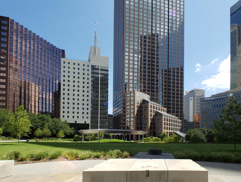 Modern buildings and Pacific plaza in downtown of city Dallas TX USA royalty free stock image