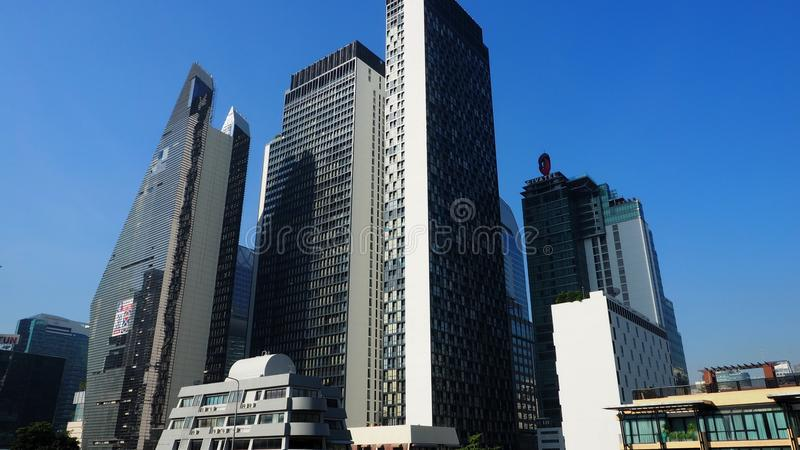 Modern buildings in Pathumwan district of Bangkok stock images