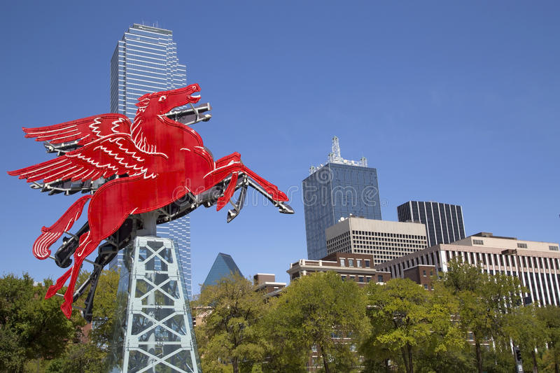 Modern buildings and Pegasus in Dallas royalty free stock photography