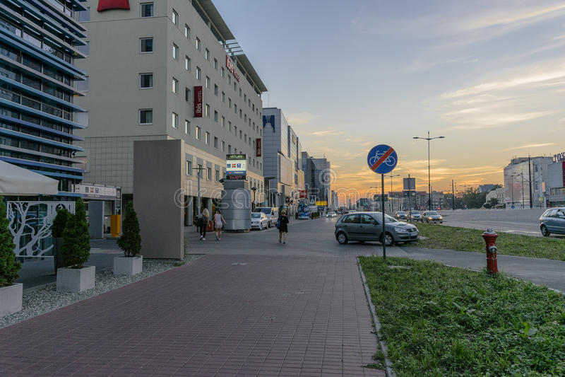 Modern buildings. Pilsudki avenue and Modern buildings with hotels in Łódź city in Poland. Evening photography royalty free stock images