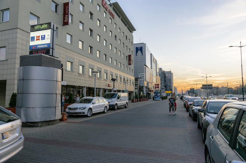 Modern buildings. Pilsudki avenue and Modern buildings with hotels in Łódź city in Poland. Evening photography stock photos