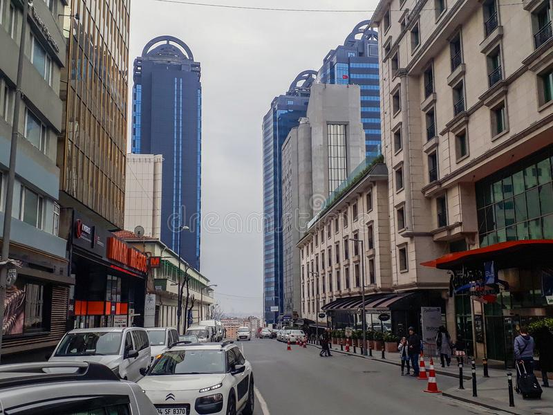 Modern Buildings Plazas in Sisli Istanbul. Modern Buildings & Plazas in Sisli Istanbul, Cars Street and People City View stock images