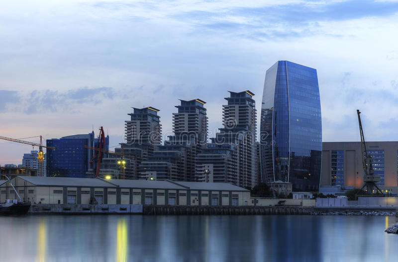 Modern buildings and the port in Baku (Azerbaijan) stock photos
