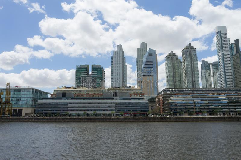 Modern buildings from Puerto Madero, Buenos Aires, Argentina. Landmark.  Buenos Aires cityscape, rio, del, plata, architecture, argentinian, boat, bridge stock images