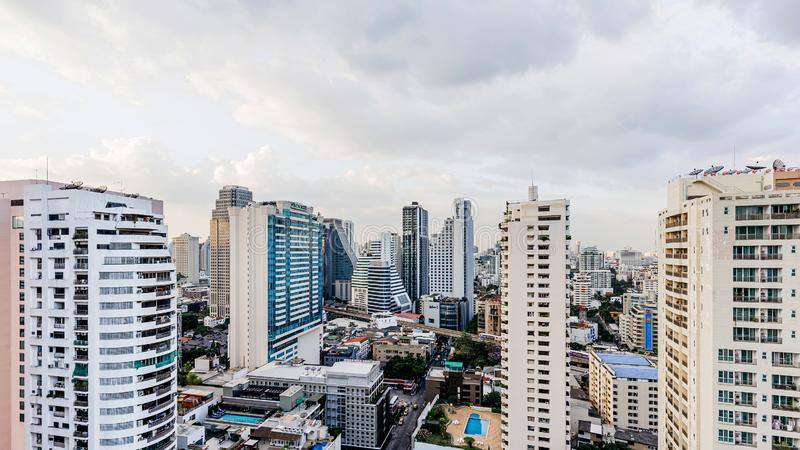 Modern buildings and real estate in the evening that view from rooftop bar in Bangkok. Construction business. Capital city royalty free stock photography