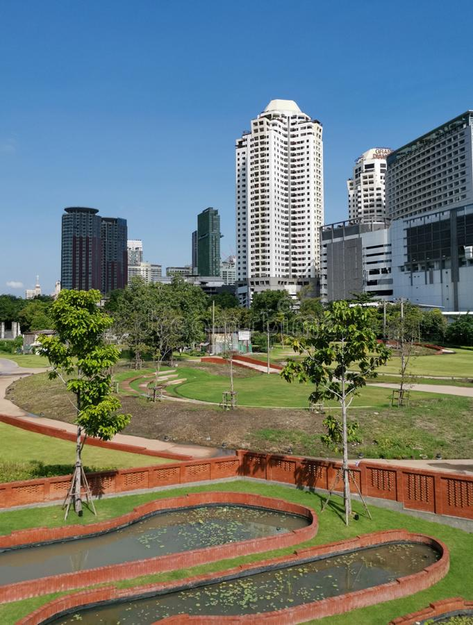 Modern buildings rises behind a public park royalty free stock images