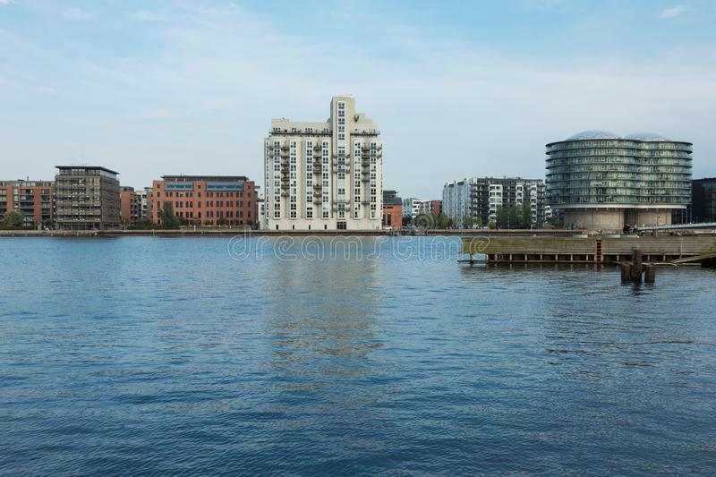 Modern buildings on the river royalty free stock image