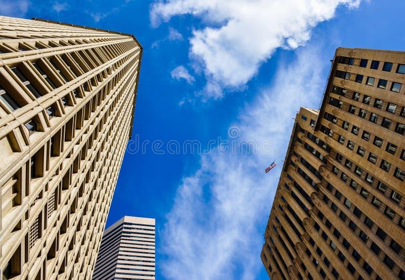 Modern buildings in Seattle, WA stock photos