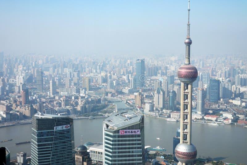 Modern buildings in Shanghai. Aerial view of Shanghai, Oriental Pearl Tower and modern buildings in Shanghai, China stock image