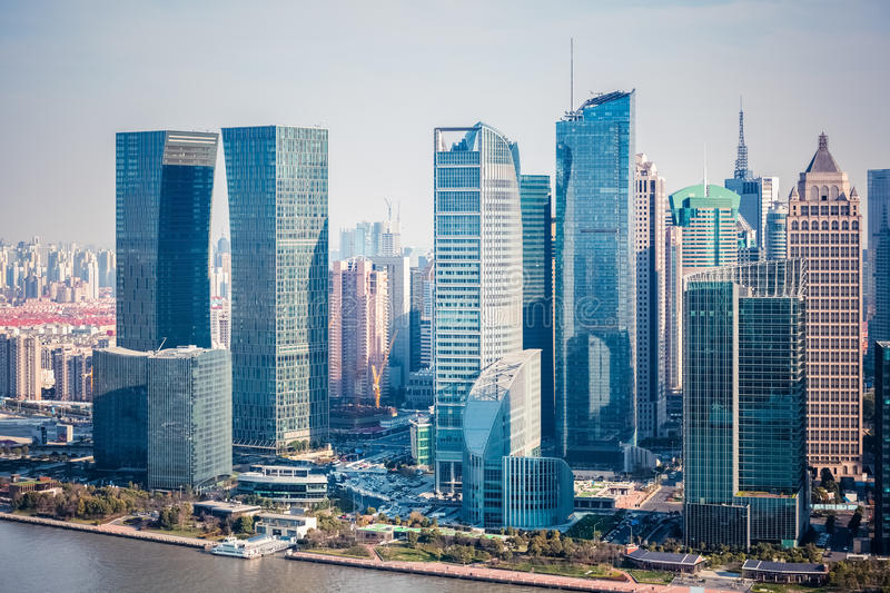 Modern buildings in shanghai financial district royalty free stock photos