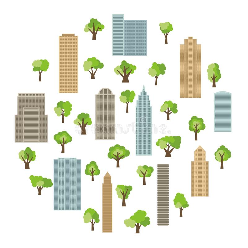 Modern buildings and skyscrapers with green trees in circle. Vector illustration vector illustration