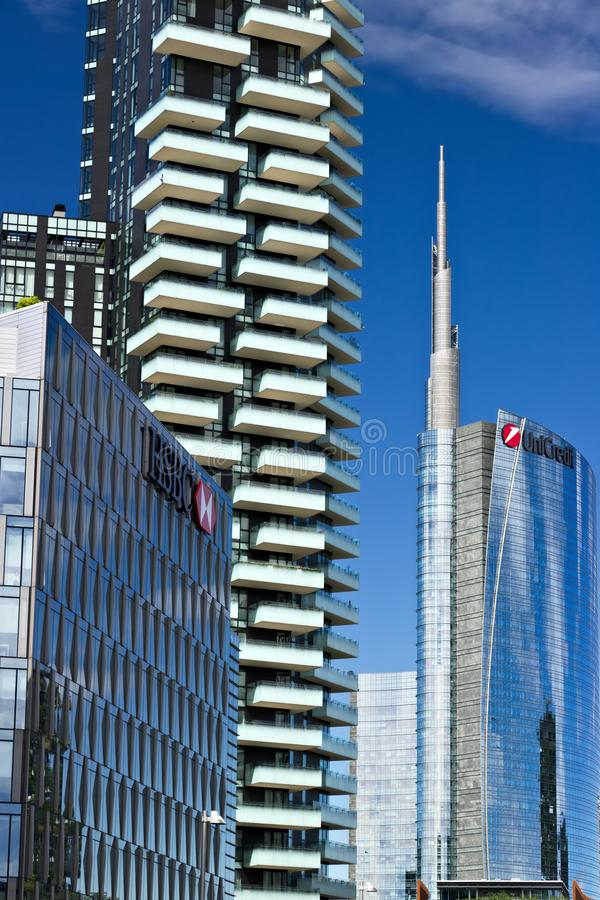 Modern buildings, skyscrapers, roads and traffic in Milano.  Dia stock photography