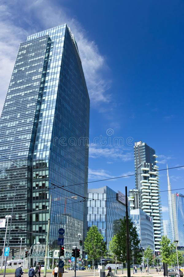 Modern buildings, skyscrapers, roads and traffic in Milano. Towe royalty free stock photography