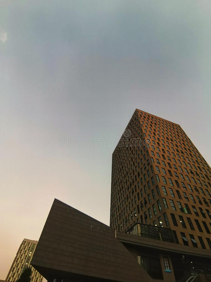 Modern buildings in sunset stock photos