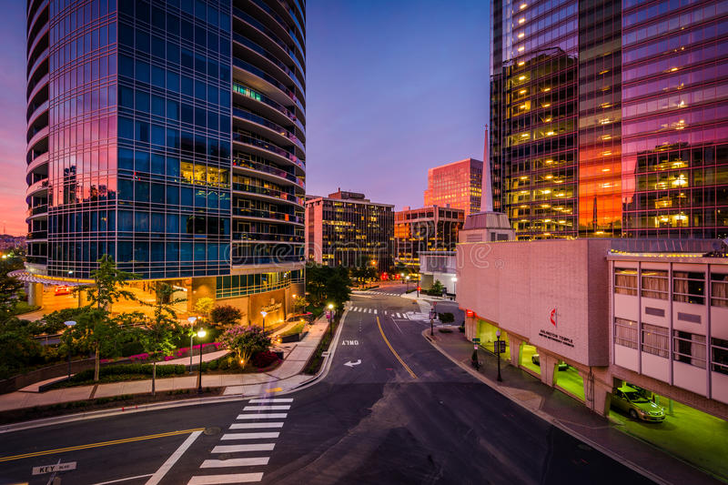 Modern buildings at sunset in Rosslyn, Arlington, Virginia. royalty free stock photography
