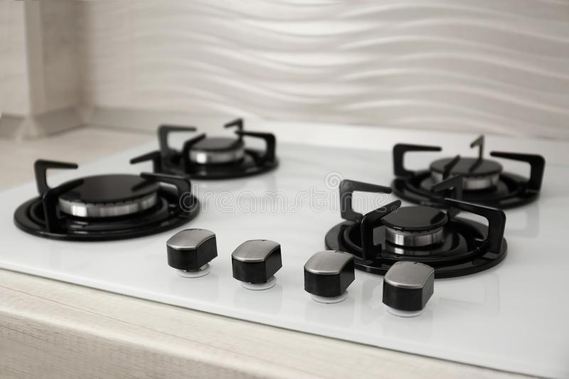 Built-in gas cooktop. Kitchen appliance. Modern built-in gas cooktop. Kitchen appliance royalty free stock photo